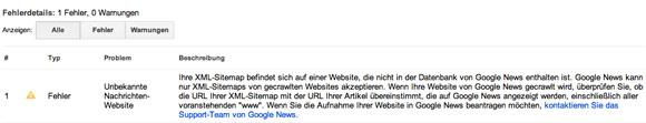 Fehlermeldung: Google News kennt die Seite nicht